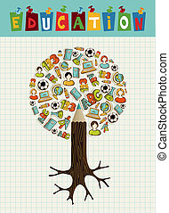 Education icons pencil tree.