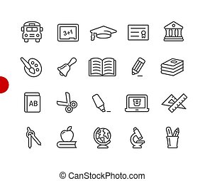 Education Icons // Red Point Series