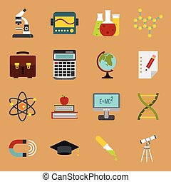 Education icons set, flat style