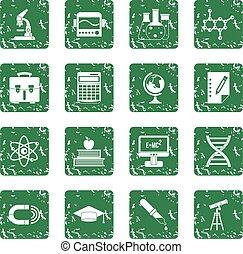 Education icons set grunge