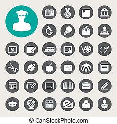 Education icons set. Illustration