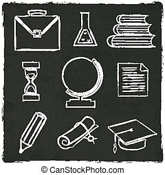 Education icons set on old black board
