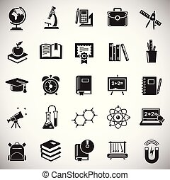 Education icons set on white background for graphic and web design, Modern simple vector sign. Internet concept. Trendy symbol for website design web button or mobile app.