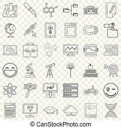 Education icons set, outline style