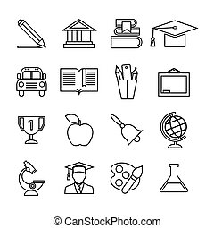 Education icons set. Trendy flat style for graphic design, web-site. Stock Vector illustration.