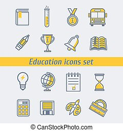 Education icons set vector illustration