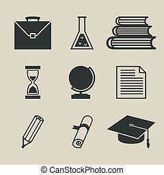 Education icons set - vector illustration
