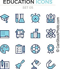 Education icons. Vector line icons set. Premium quality. Simple thin line design. Modern outline symbols, pictograms