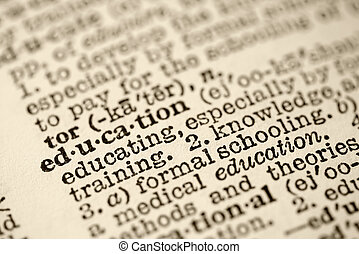 Education in dictionary. - Selective focus of dictionary ...