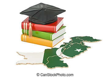 Education in Pakistan concept, 3D rendering