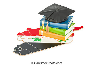 Education in Syria concept, 3D rendering