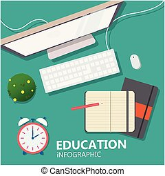 Education Infographic Labtop Book Clock Background Vector Image