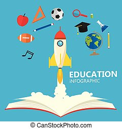Education Infographic Open Book Of Knowledge Rocket Launch Background Vector Image
