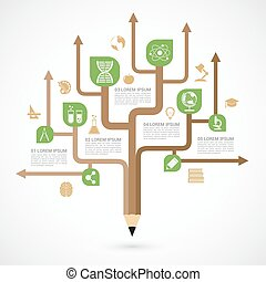 education infographic template, tree of knowledge, learning sciences concept, abstract picture of a tree formed from pencil with set of education and science icons