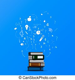 education infographic with book stack and icons on blue background.