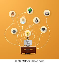 education infographic with book stack and icons on orange background