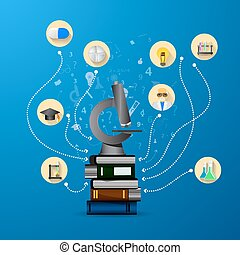 education infographic with book stack and microscope