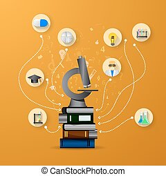 education infographic with book stack and microscope on orange background