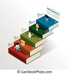education infographic with colorful books element