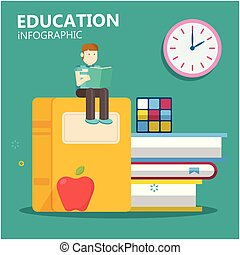 Education Infographic Young Man Sit On Big Book Clock Background Vector Image