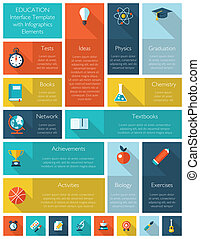 Modern education interface template with infographics elements