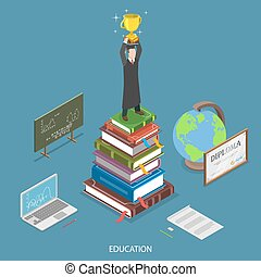 Education isometric flat vector concept.