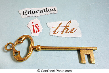 Education Key - Education Is The Key paper notes with gold...