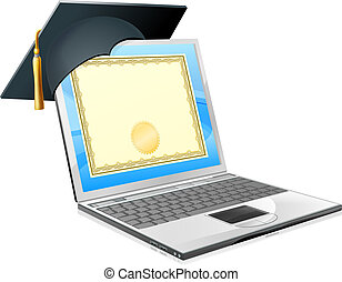 Education laptop concept. Illustration of a laptop computer with a mortar board cap and diploma certificate on screen. Concept for distance learning, or IT computer courses, or other similar education themes.