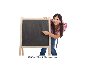 education - Latina college student with backpack pointing to Copy space board