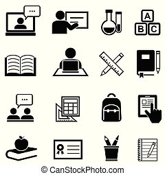 Education, learning and back to school icons