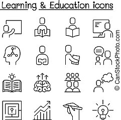 Education & Learning icon set in thin line stlye