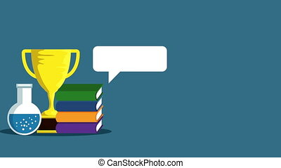 education learning with books animation