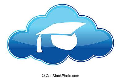 education, ligne, icône, blanc