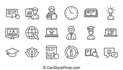 Education line icons. Book, Video tutorial and Instructions. Linear icon set. Vector