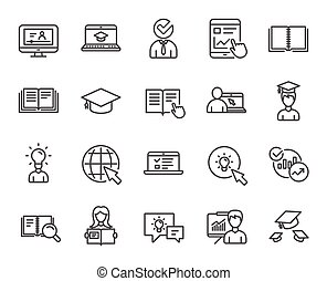 Education line icons. Book, Video tutorial. - Education line...