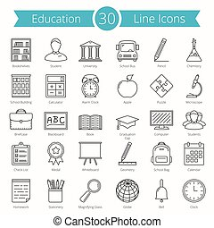 Set of 30 education line icons, vector eps10 illustration