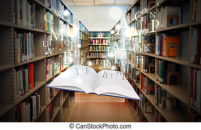 education, livre bibliothèque, flotter, esprit