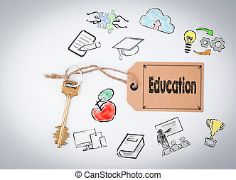 education., llave, en, un, fondo blanco