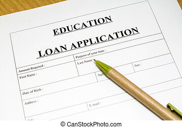 education loan application. - Directly above photograph of a...