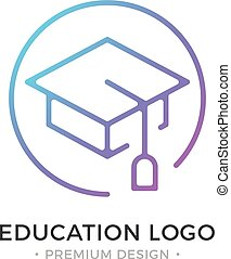Education logo. Mortarboard, square academic cap, graduation hat icon. Premium design. Trendy linear style. Abstract concept. Simple round line icon. Modern vector logo