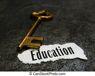 Education message with gold key