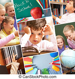 Education moments - Collage of schoolchildren in studying ...