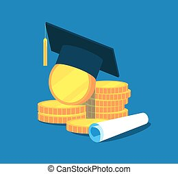 Education money. College tuition graduation, scholarship education investment. Gold coins, academic cap diploma. Vector concept