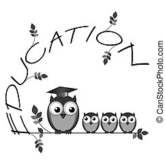 Education - Monochrome education twig text with owl teacher ...