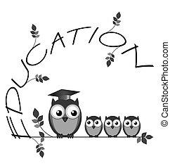 Education - Monochrome education twig text with owl teacher ...