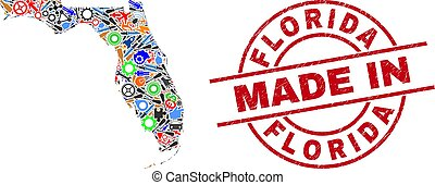 Industrial mosaic Florida State map and MADE IN grunge rubber stamp. Florida State map mosaic formed with spanners, gear wheels, screwdrivers, aviation symbols, vehicles, electric strikes, helmets.