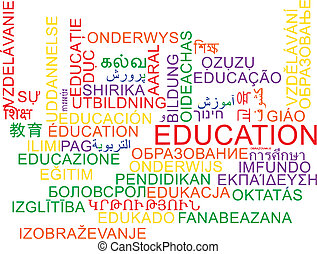 Education multilanguage wordcloud background concept