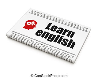 Education news concept: newspaper with Learn English and Head With Gears