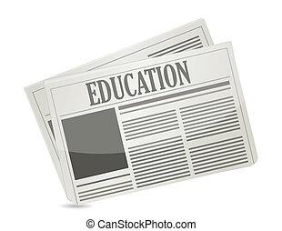 education newsletter illustration design over a white ...