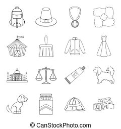 education, nicotine, hunting and other web icon in outline style.fashion, religion, beauty icons in set collection.